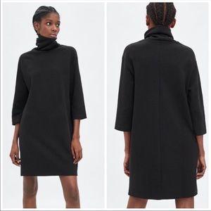 Zara Black Turtleneck Sweatshirt Dress in Medium
